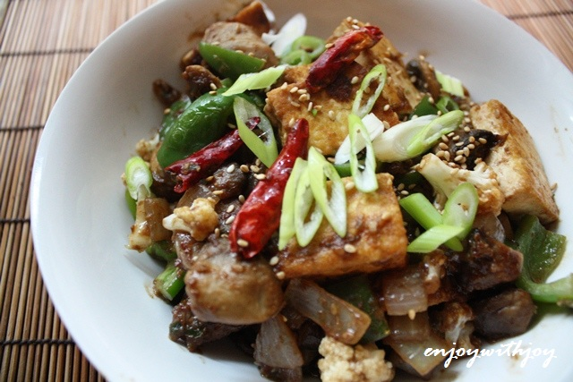 Braised Tofu in Spicy Sesame, Peanut Sauce | enJOY with JOY