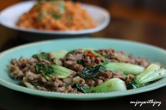 Spicy Baby Bok Choy with Kimchi Fried Rice