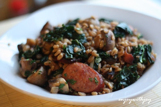 Farro with Andouille Sausage and Kale